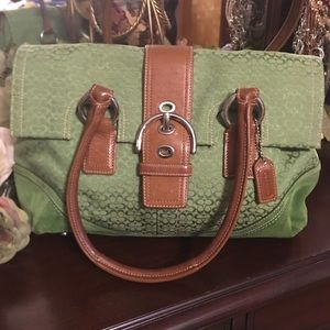 Coach vintage green large signature canvas satchel